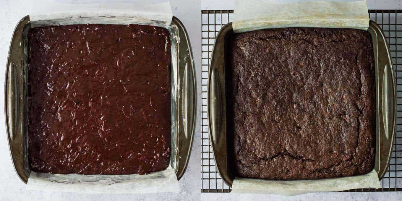 vegan beetroot chocolate cake step 3 - baking the cake