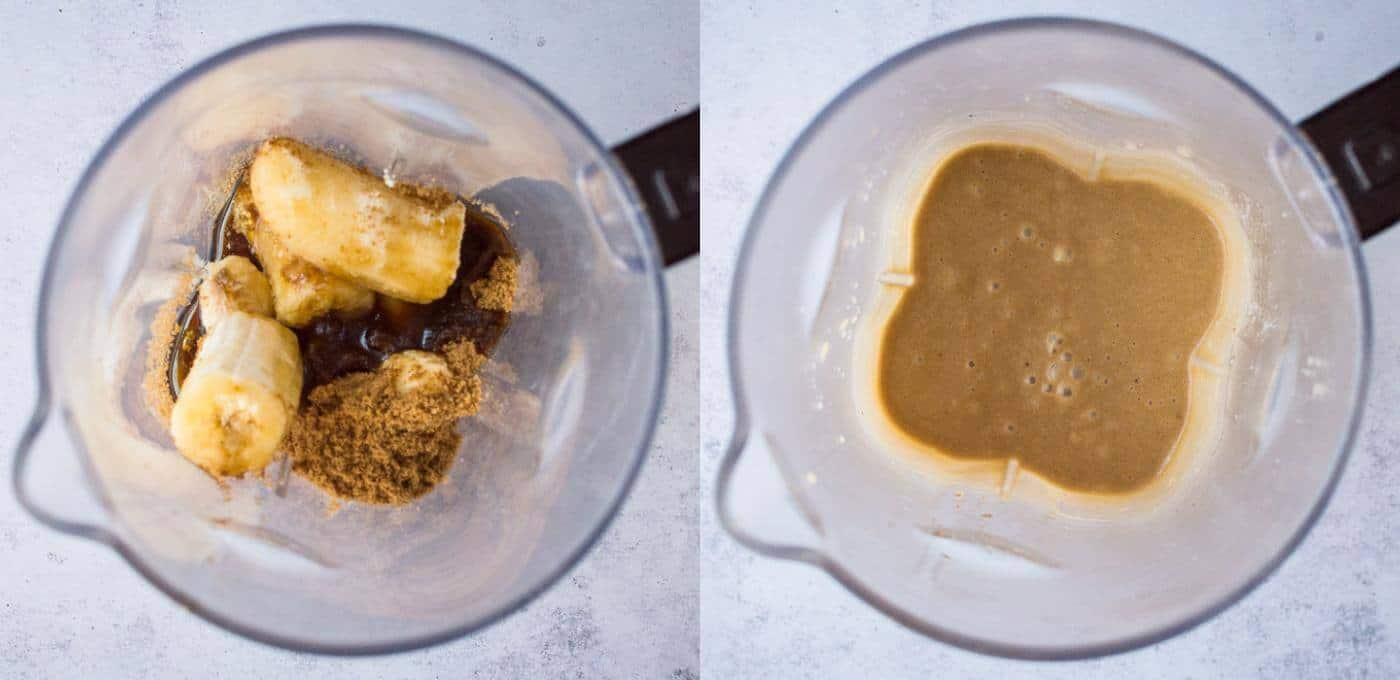 vegan chocolate banana bread step 1 - blending the wet ingredients