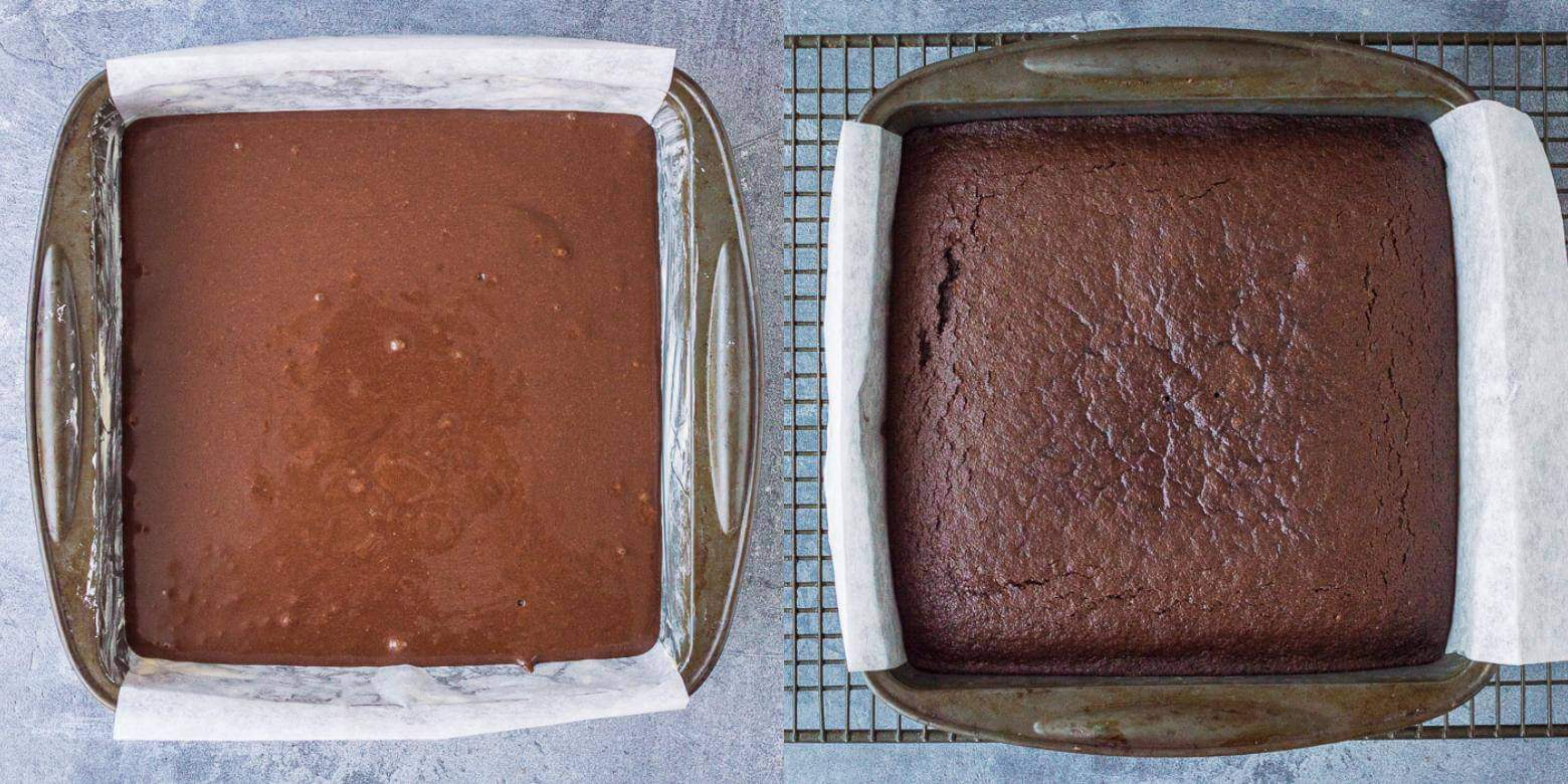 easy vegan chocolate cake step 2 - baking the cake