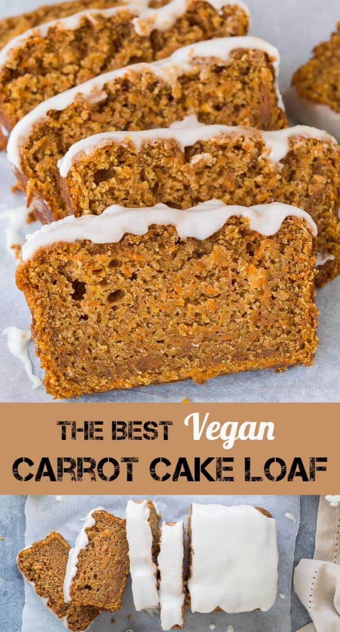 Vegan carrot cake loaf - this is the best vegan carrot cake! Easy to make, moist, sweet and spicy with a zingy lemon glaze; this loaf cake is perfect for snacking on. #vegan #veganbaking #vegancake #vegancarrotcake #loafcake #snackcake #carrotcake #eggless #dairyfree #eggfree
