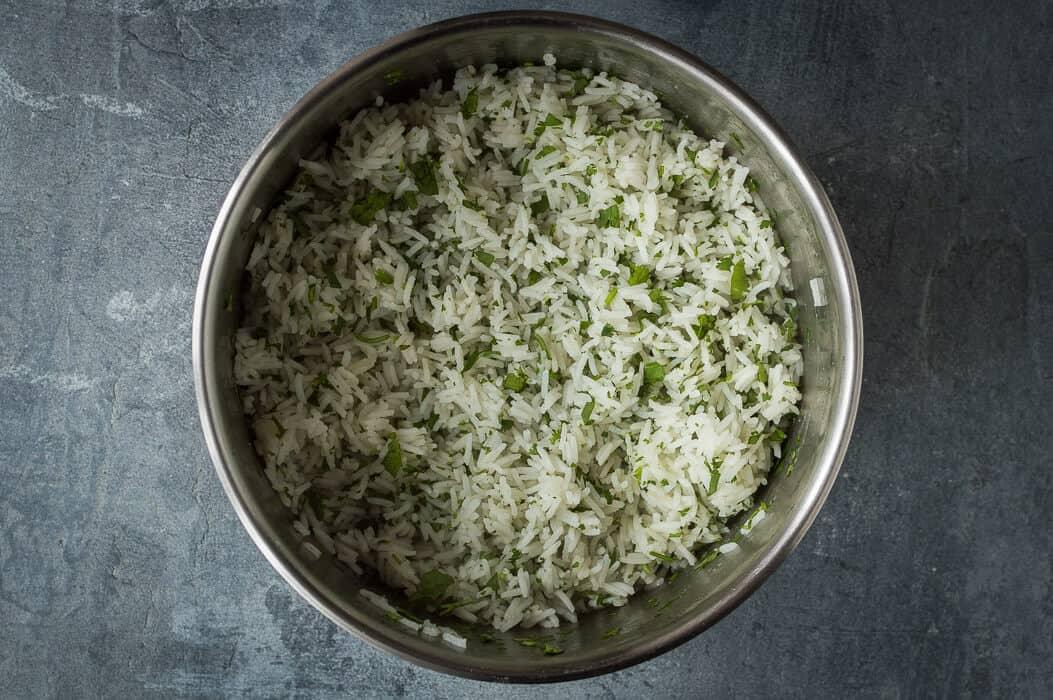 Making the coriander rice