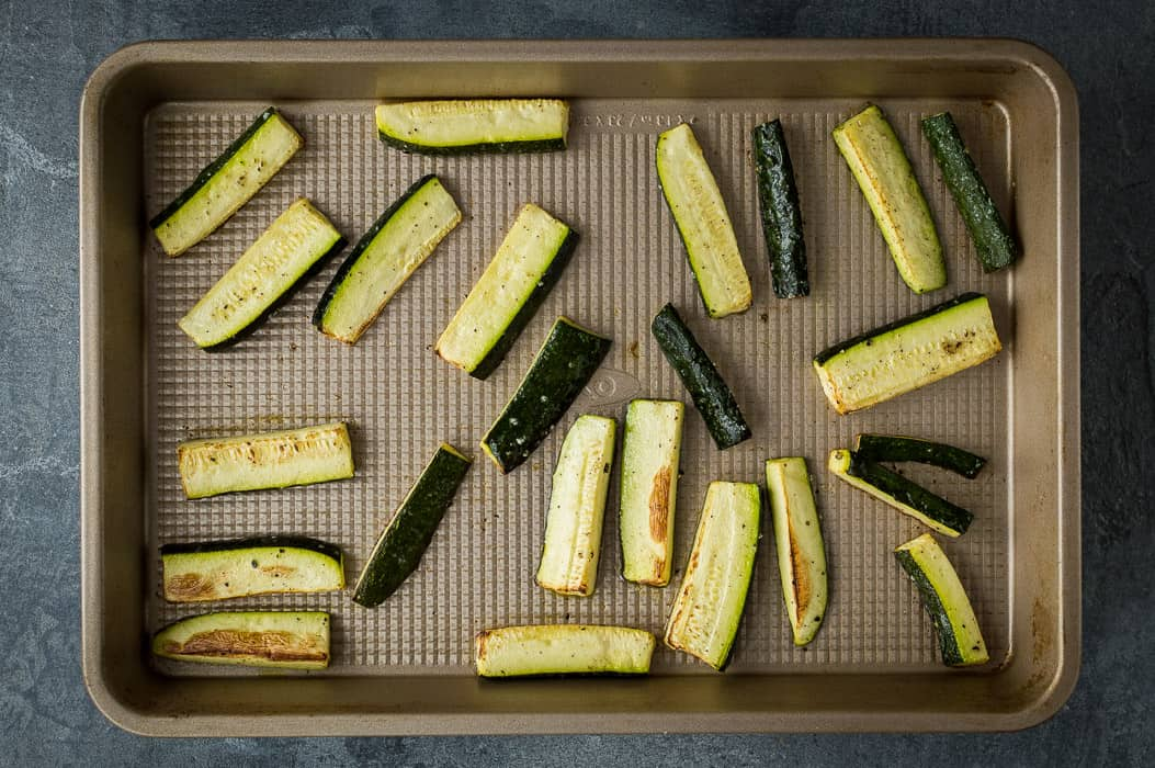 Roasting the courgette