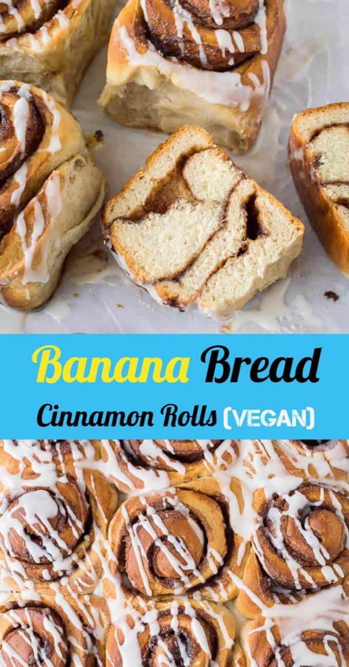 Banana bread cinnamon rolls - these vegan cinnamon buns are a different way to use up brown bananas! Soft, fluffy banana yeast bread with a sweet cinnamon filling; they are great for breakfast, brunch or snacking! Egg and dairy free. #vegan #cinnamonrolls #bananabread #plantbased #dairyfree #eggless #eggfree #veganbaking #veganjunkfood