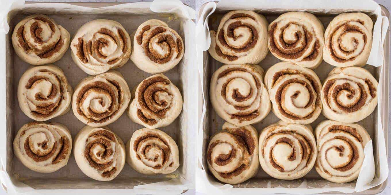 step 7 - letting the cinnamon rolls rise