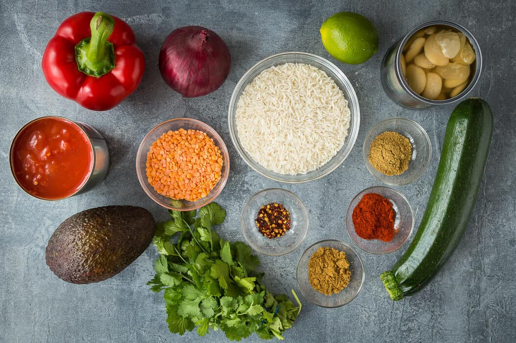 Lentil, vegetable and butter bean chilli ingredients