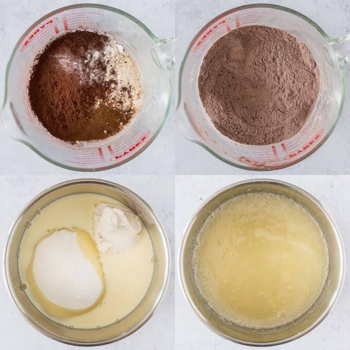 Step 1 - preparing the dry and wet ingredients.