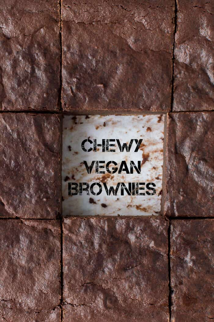 Top down shot of sliced chewy vegan brownies with the middle one removed.