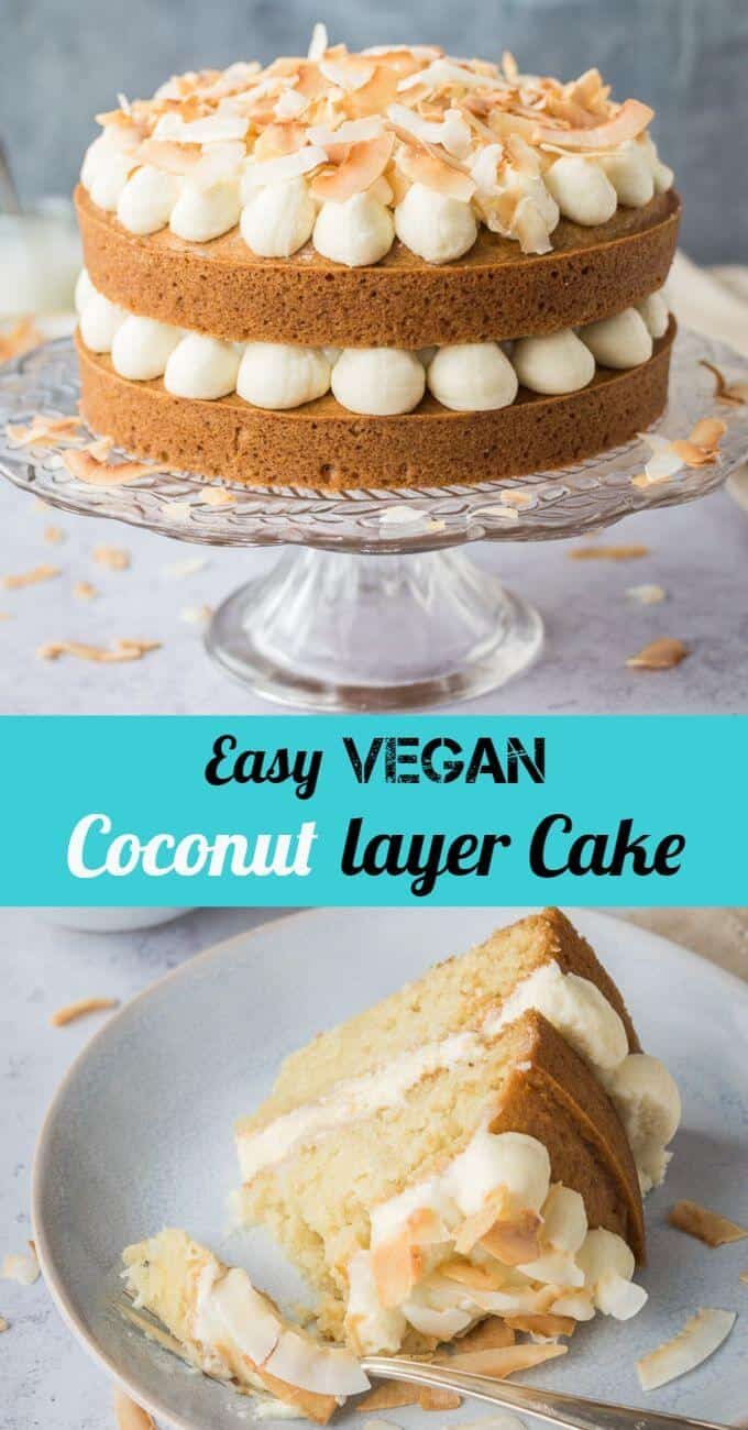 Coconut layer cake with coconut lime curd - this vegan coconut cake is amazingly soft and delicious. Two layers of one-bowl, eggless and dairy free coconut cake topped with fluffy coconut buttercream, tangy coconut lime curd and toasted coconut; coconut heaven! #vegan #eggless #dairyfree #eggfree #vegancake #veganbaking #layercake #coconutcake #celebration