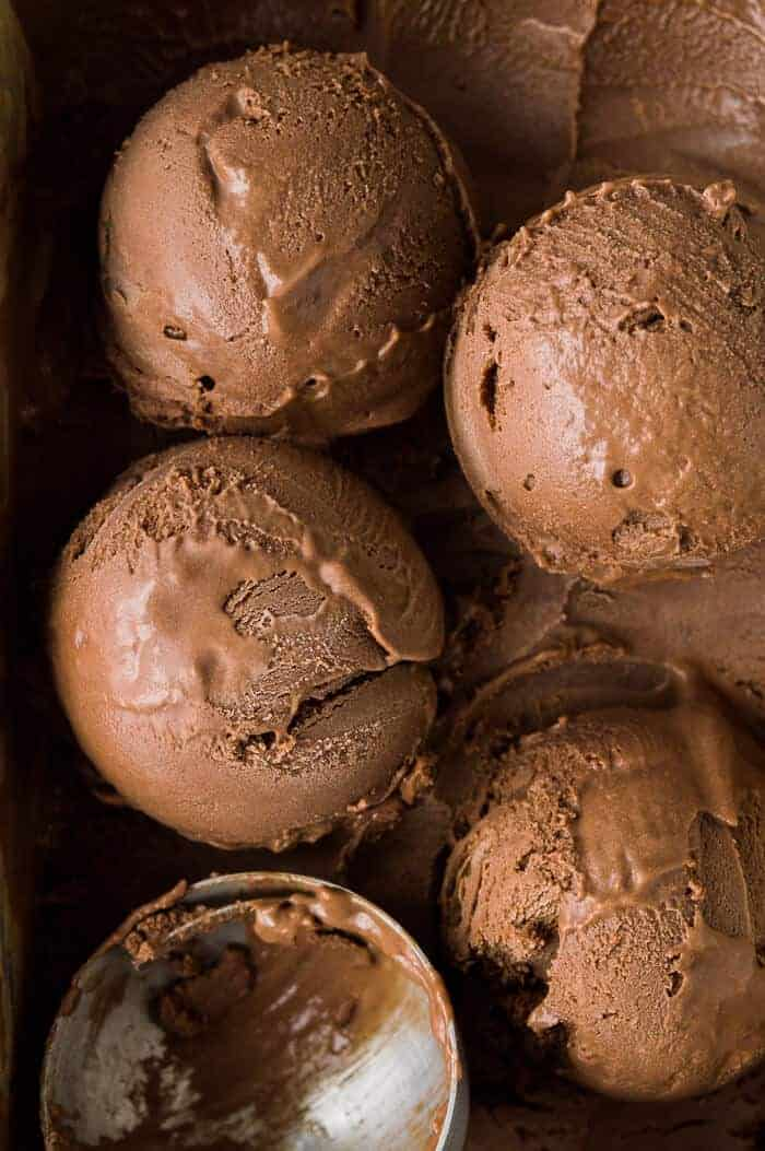 Close up of scoops of creamy vegan chocolate ice cream.