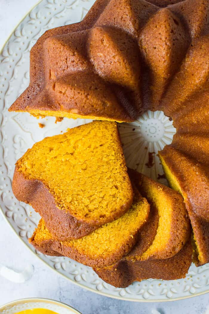 Close up of slices of vegan mango bundt cake.