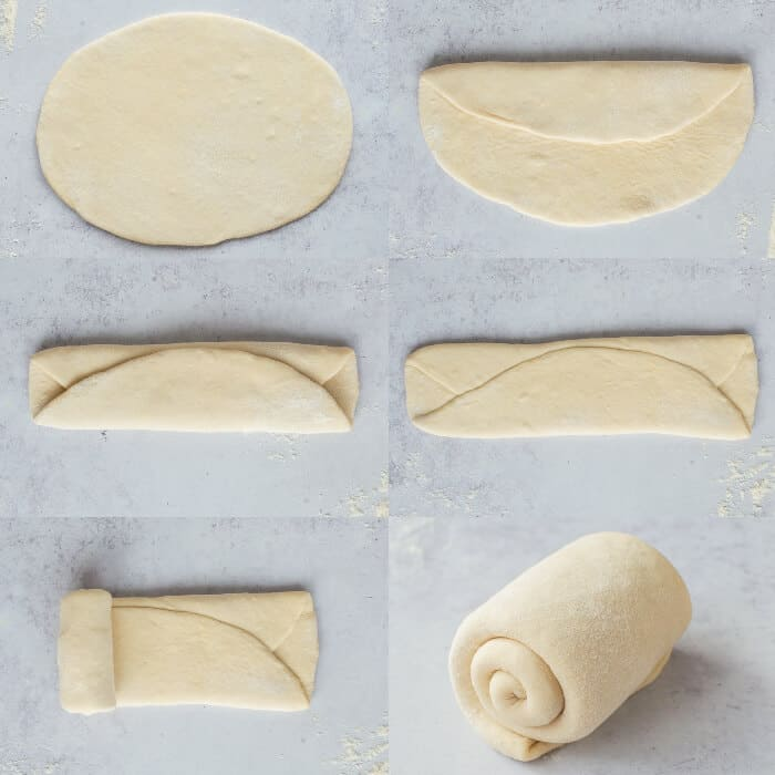 step by step of shaping the dough