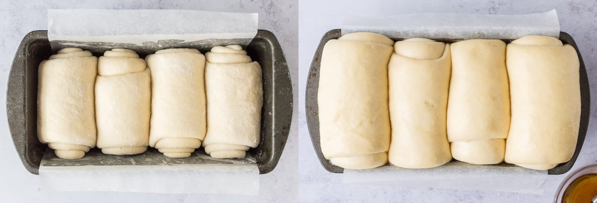 before and after of the rising loaf