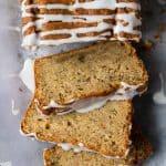 Close up of sliced vegan courgette loaf cake.