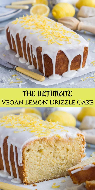 vegan lemon drizzle cake pinterest image