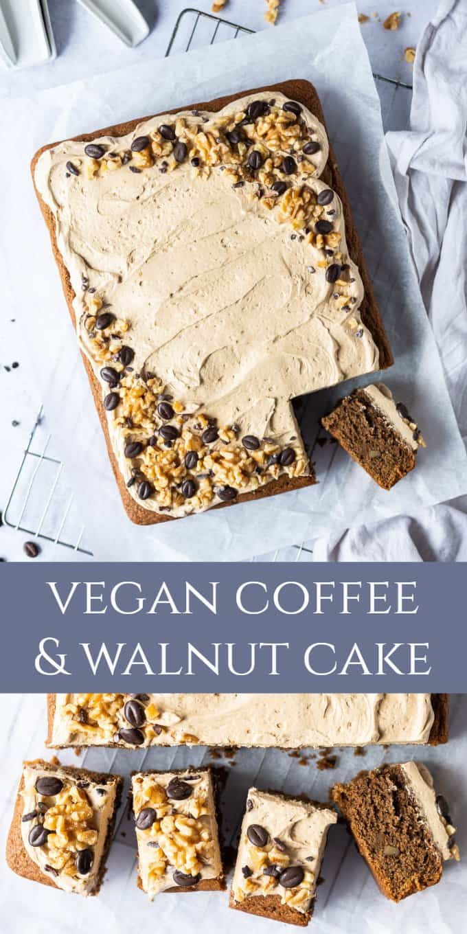 vegan coffee and walnut cake pinterest image