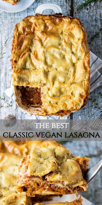 classic vegan lasagne pinterest image