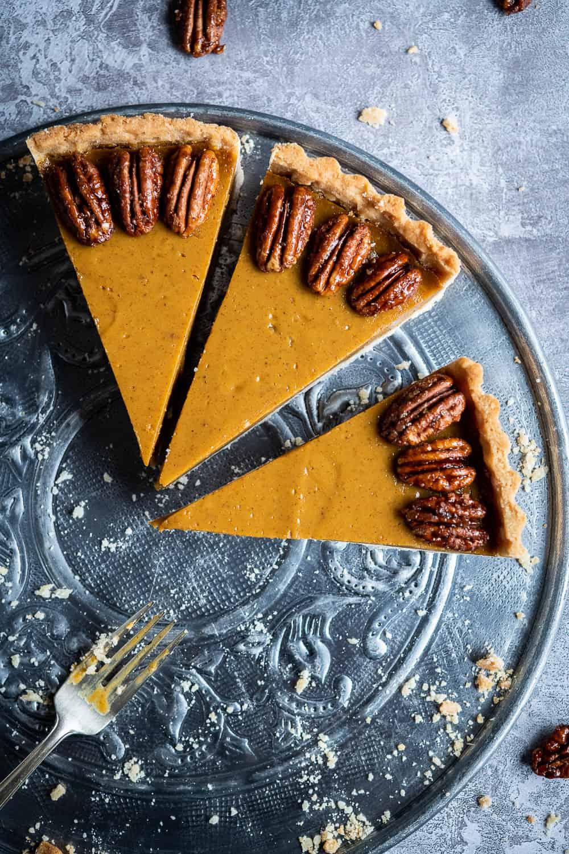 three slices of pumpkin pie.