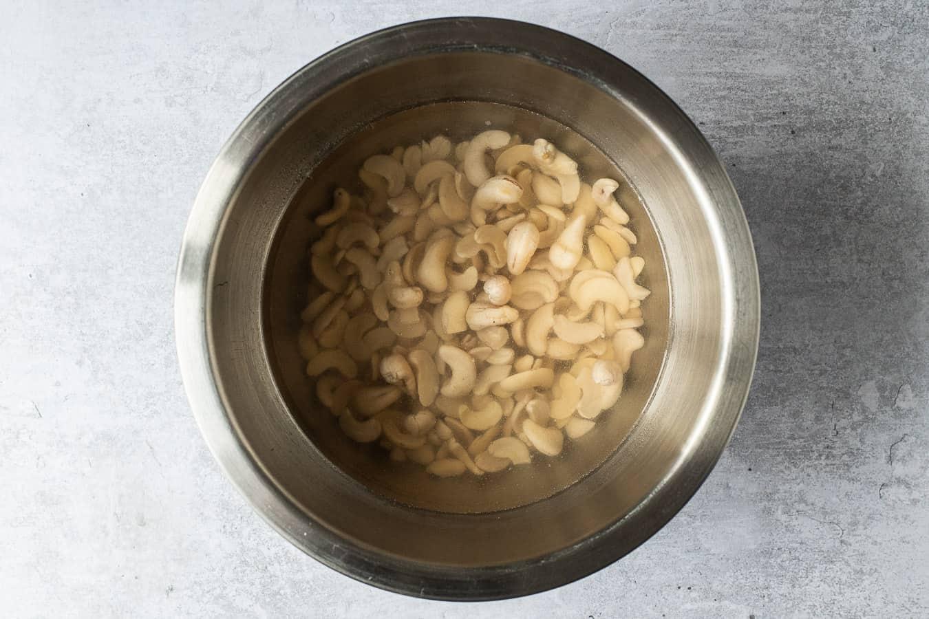 step 1 - soaking the cashews