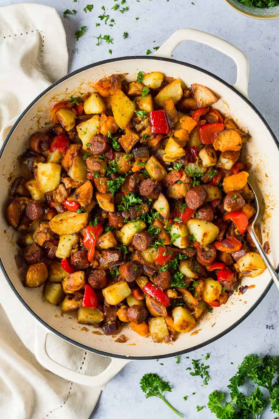 close up of a panful of chorizo potato hash.