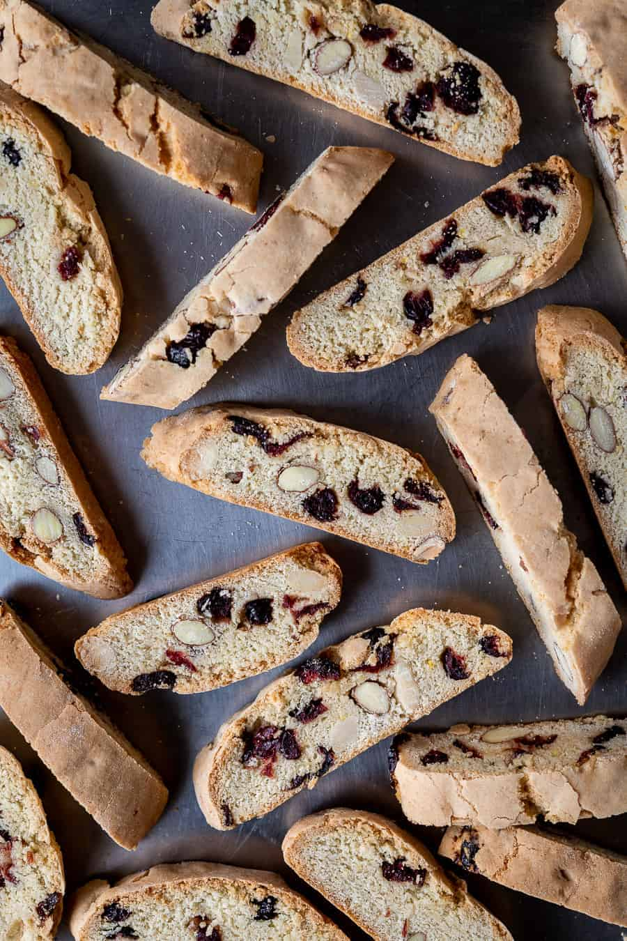 vegan biscotti on a metal background.