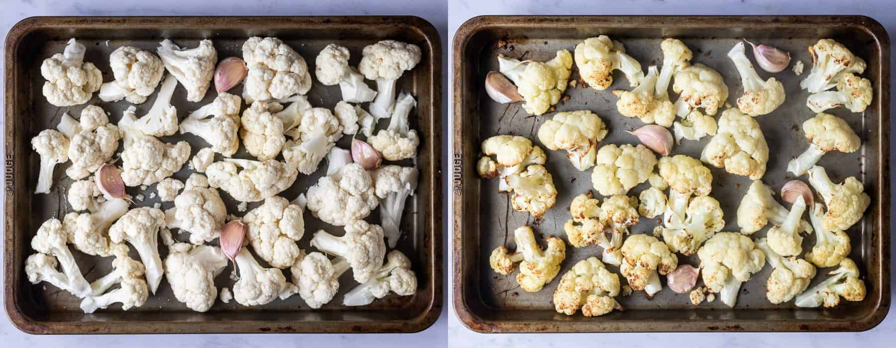 step 1 - roasting the cauliflower