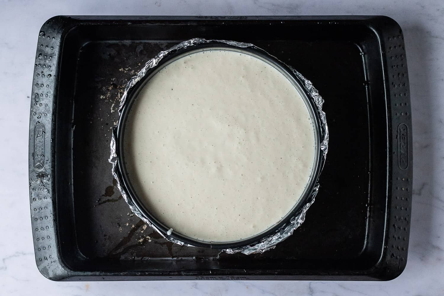 step 4 - prepping the cheesecake to bake