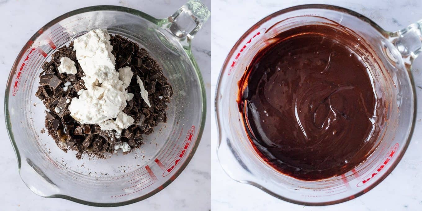 step 1 - melting the chocolate and coconut cream