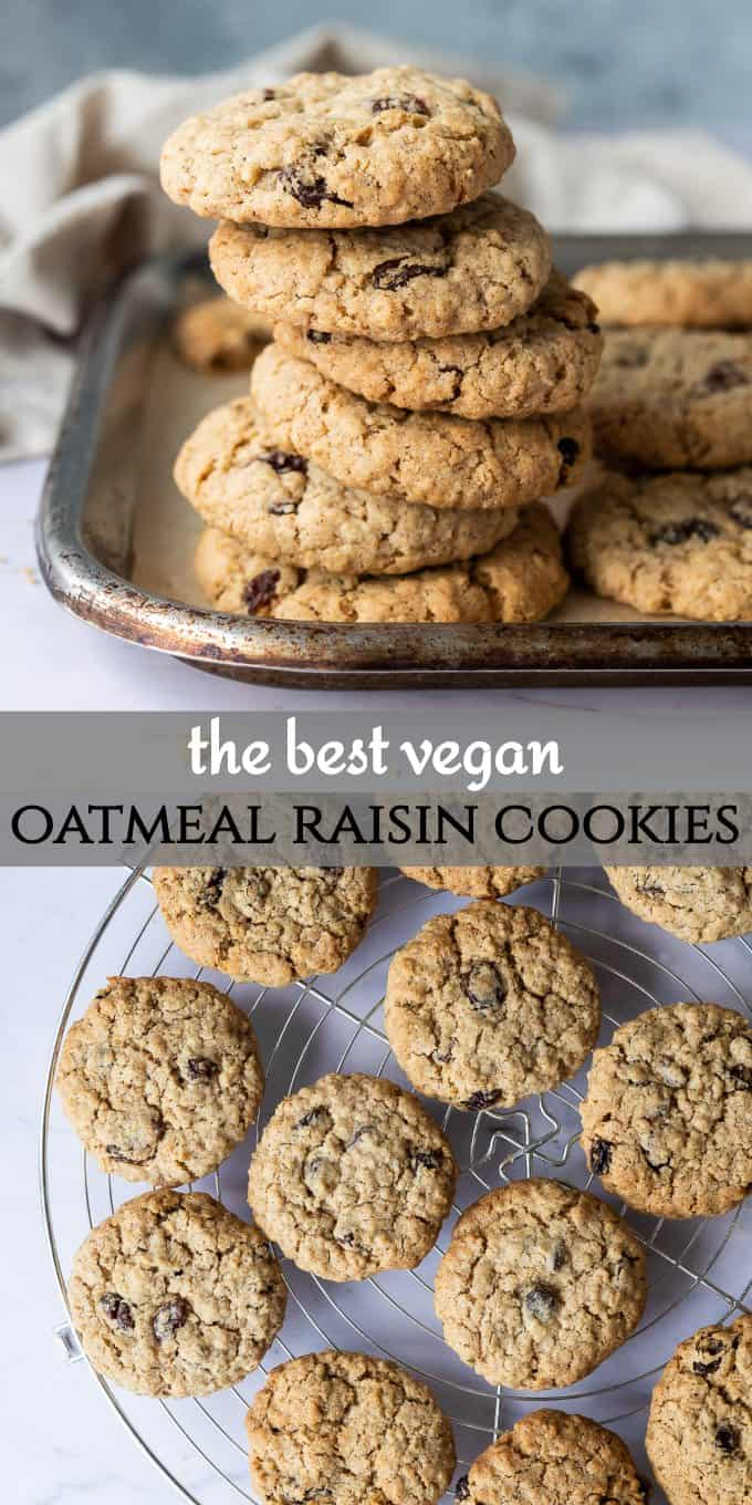 vegan oatmeal raisin cookies pinterest image