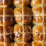 Close up of vegan hot cross buns