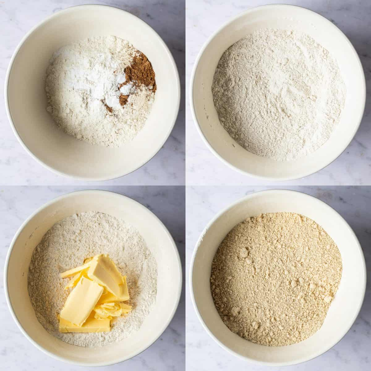 step 1 - mixing the dry ingredients and rubbing in the butter