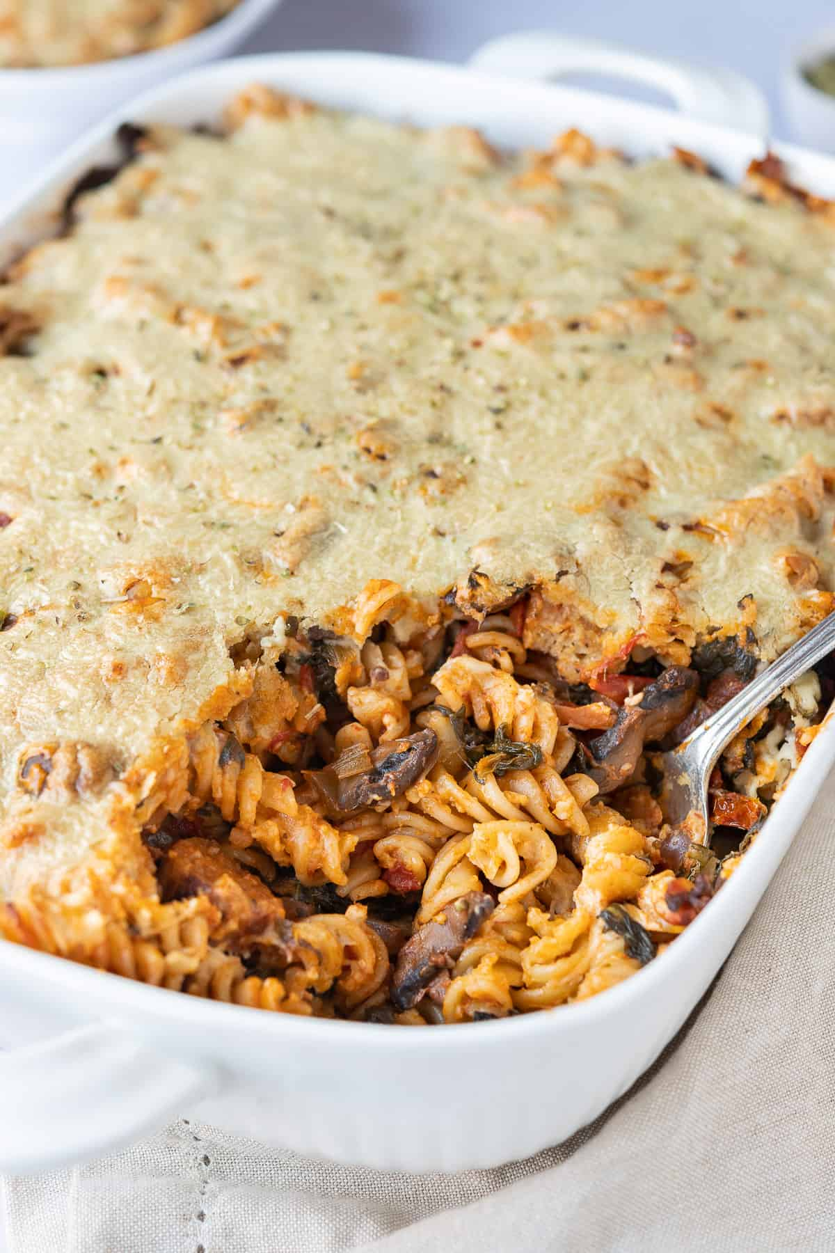 close up of vegan pasta bake.