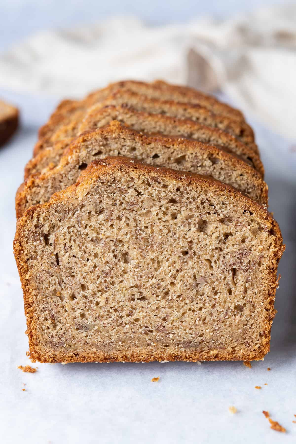 Close up of a slice of banana bread.