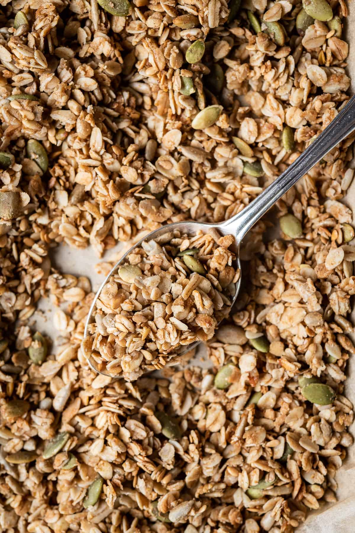 close up of a spoonful of granola