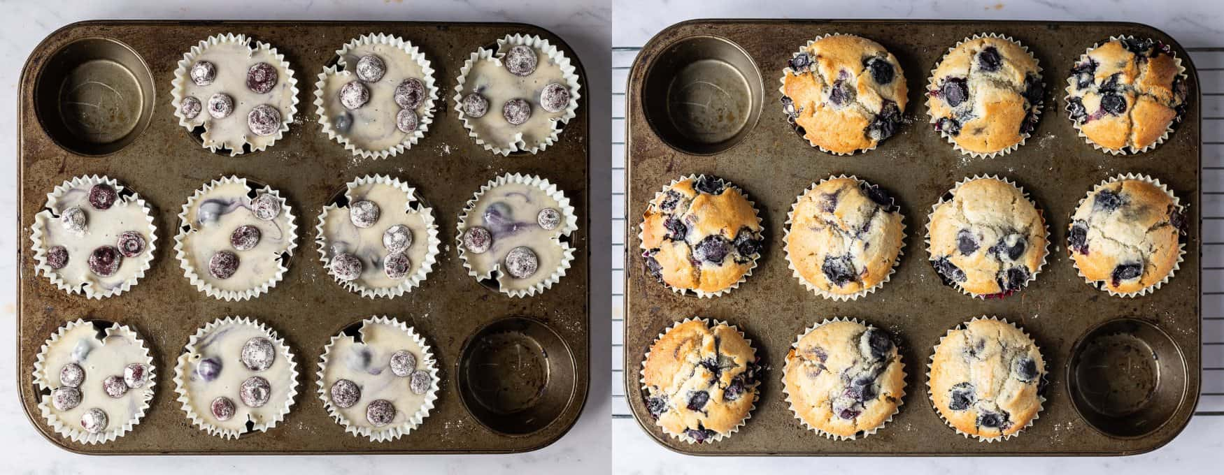 step 3 - dividing the batter between the cases and baking the muffins.