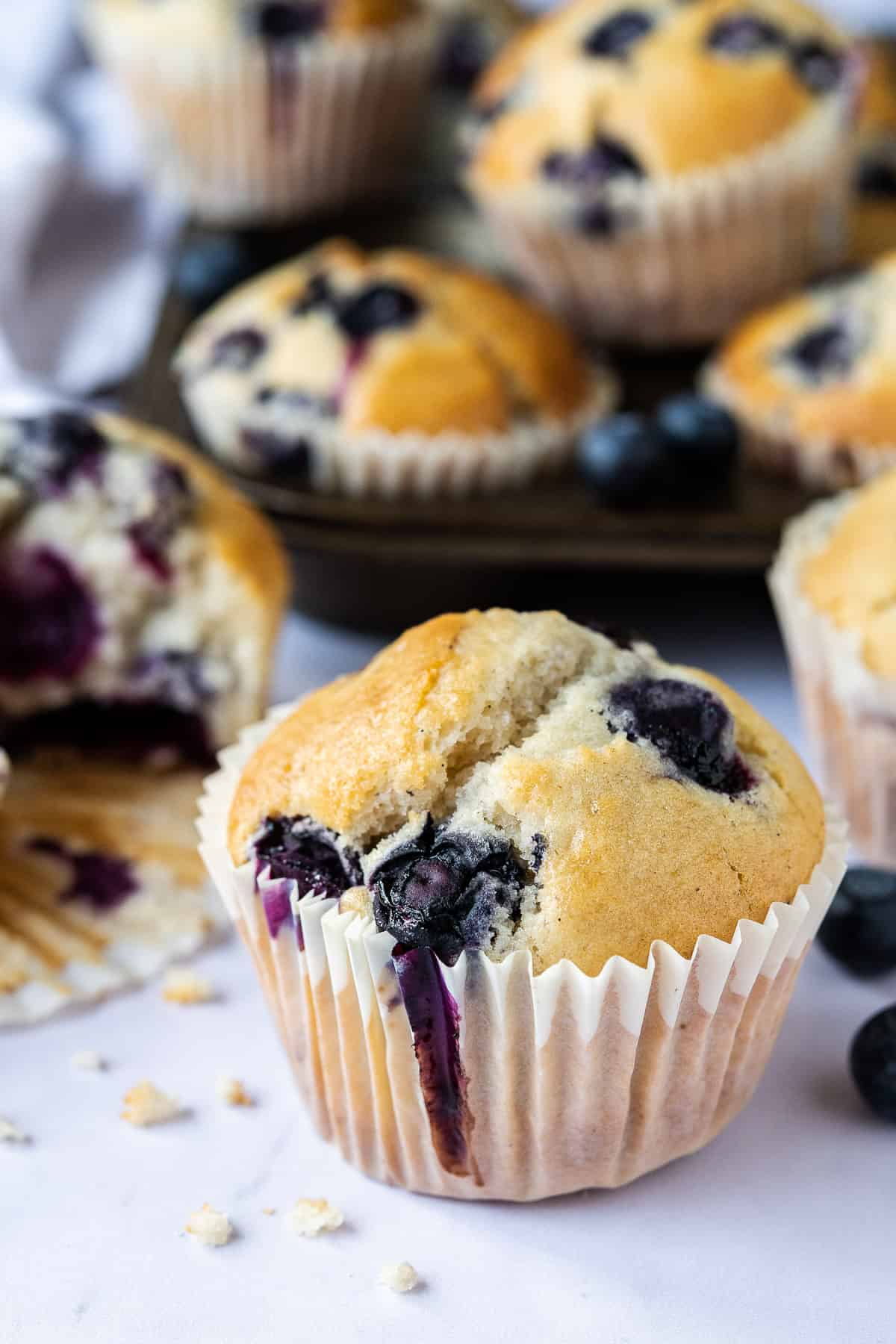 close up of a vegan blueberry muffin