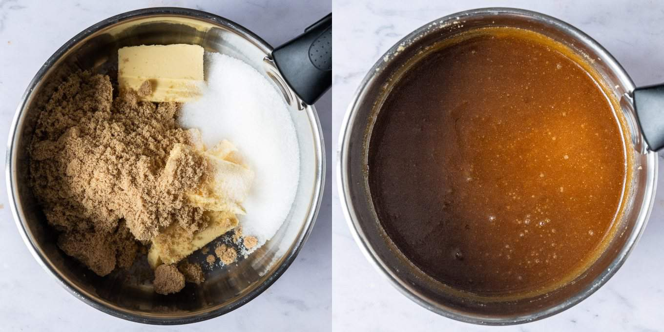 Step 1 - melting the butter and sugar