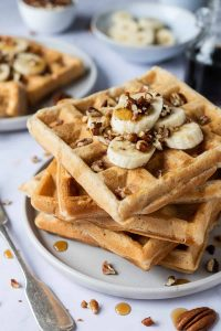 a stack of vegan banana waffles.