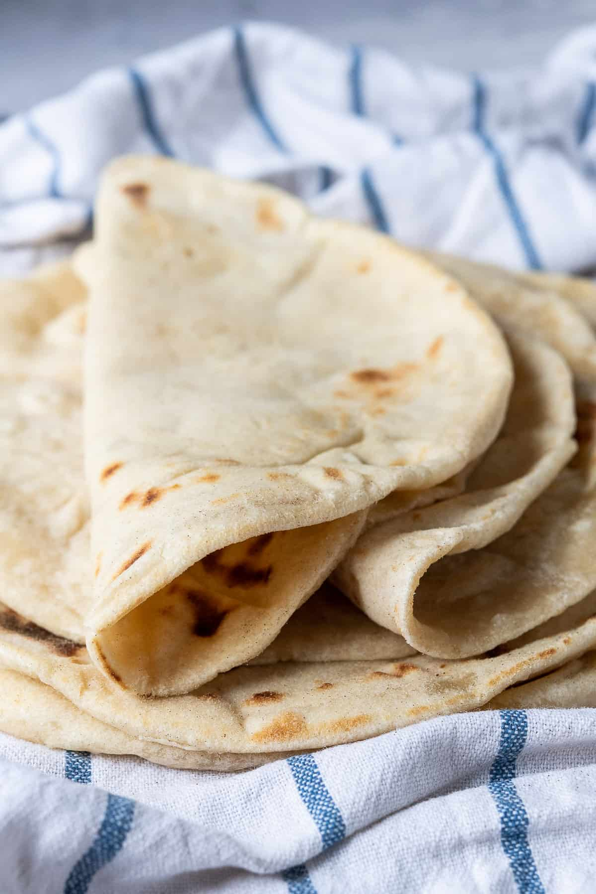Close up of a folded flatbread.
