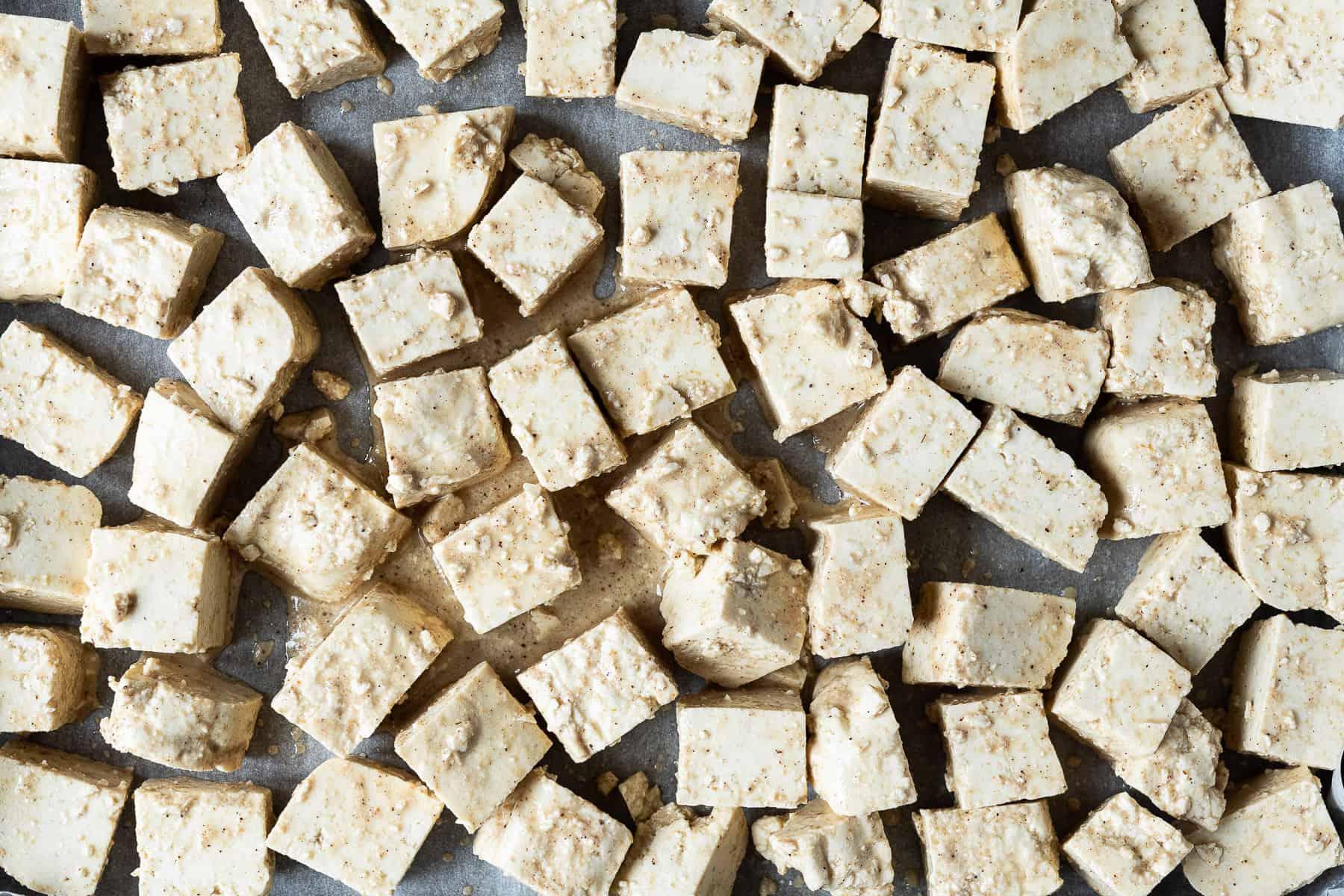 The unbaked tofu 'paneer'.