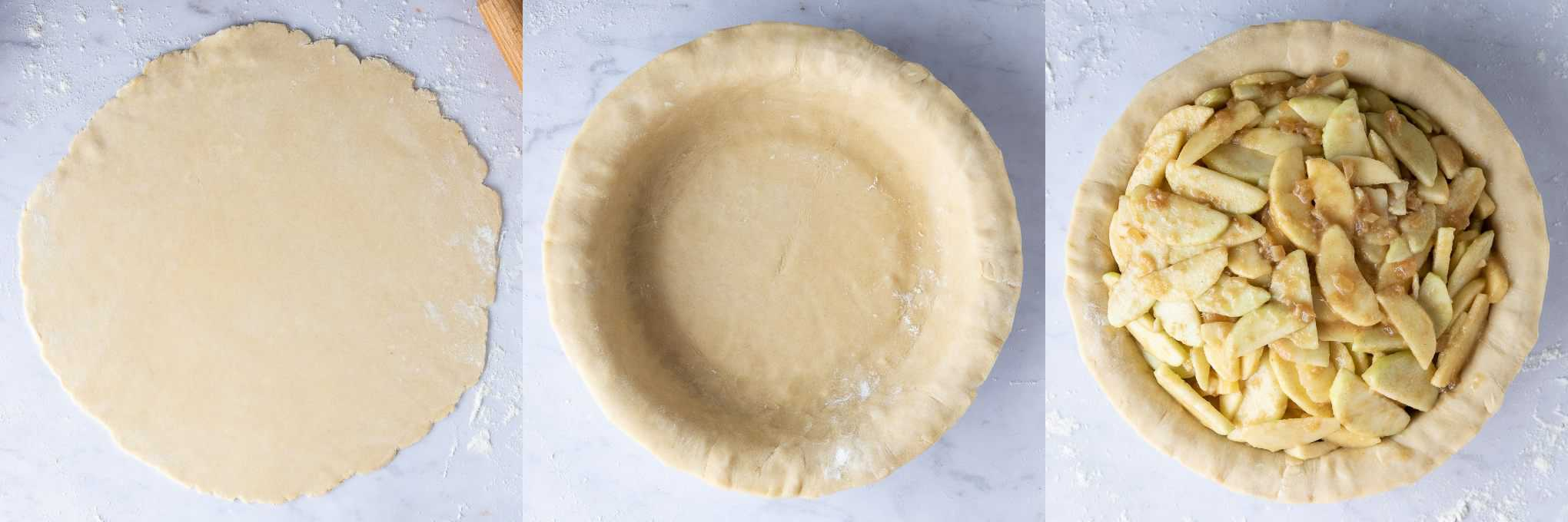 step 3 - lining the pie dish and adding the filling.