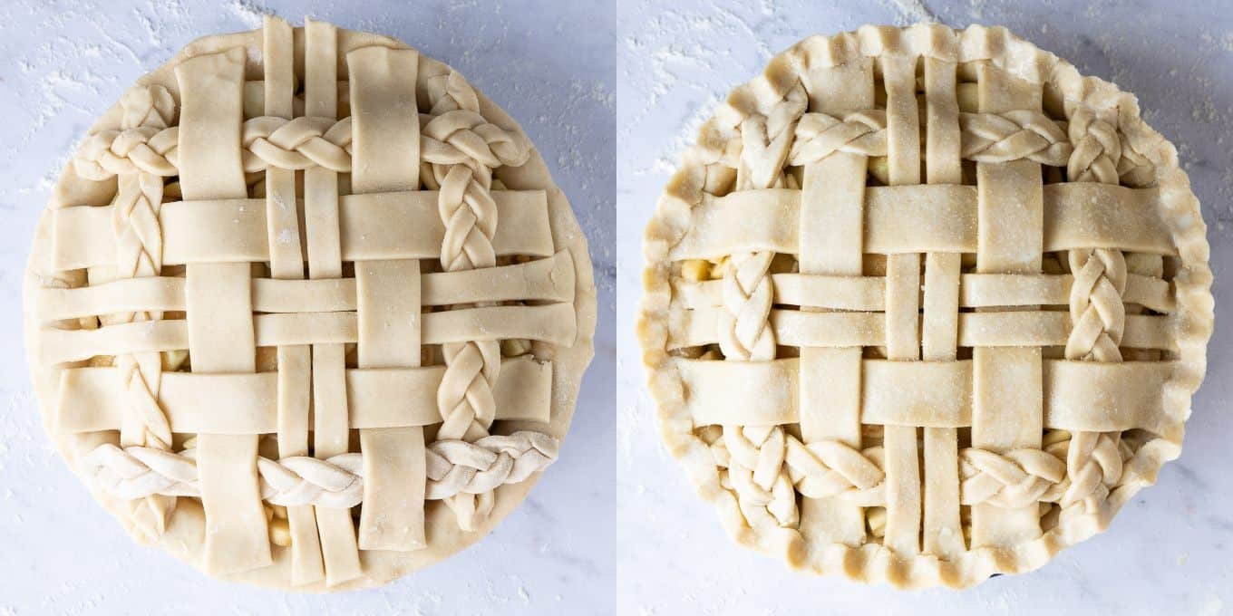 step 6 - crimping the edges of the pie.