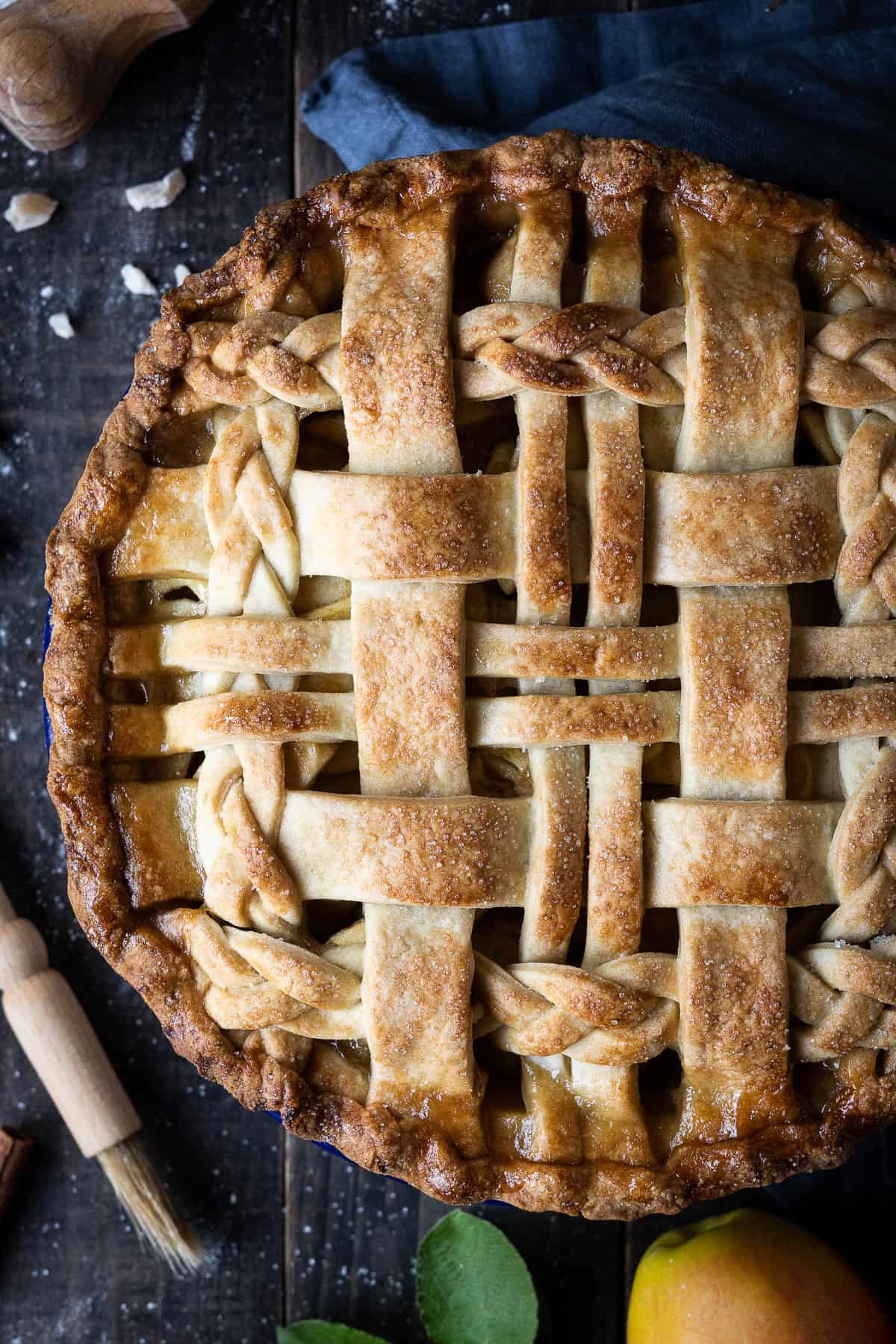 Close up of the lattice on top of the pie.