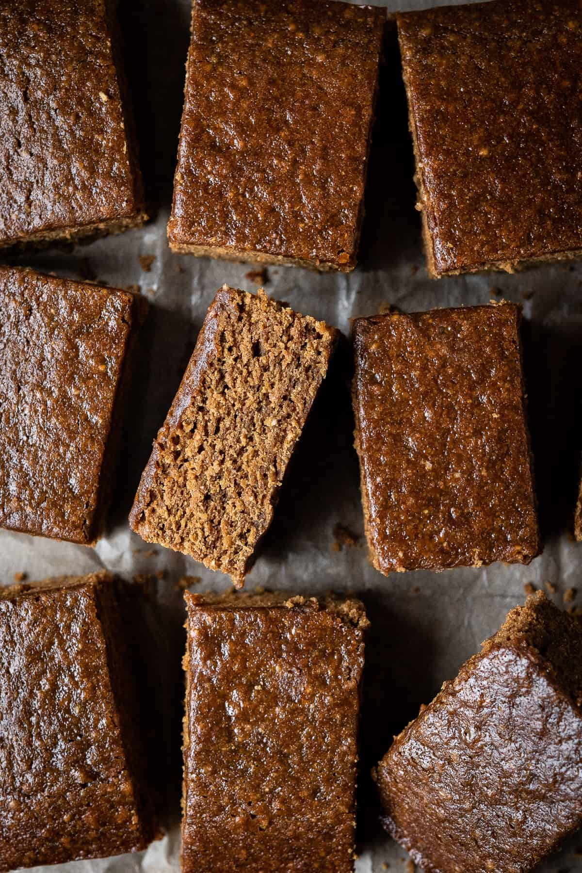 Close up of squares of vegan parkin.