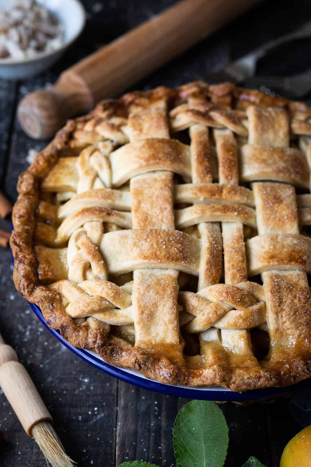 Close up of ginger apple pie.