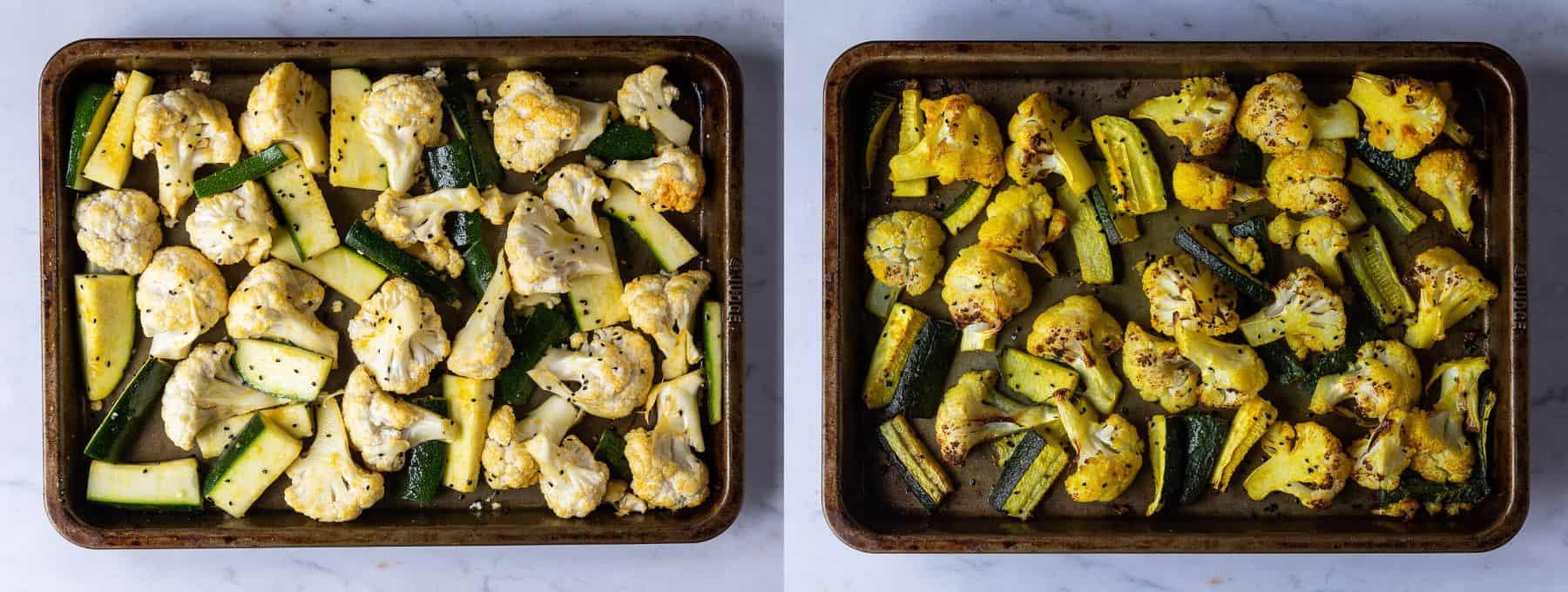 Step 1 - roasting the vegetables.