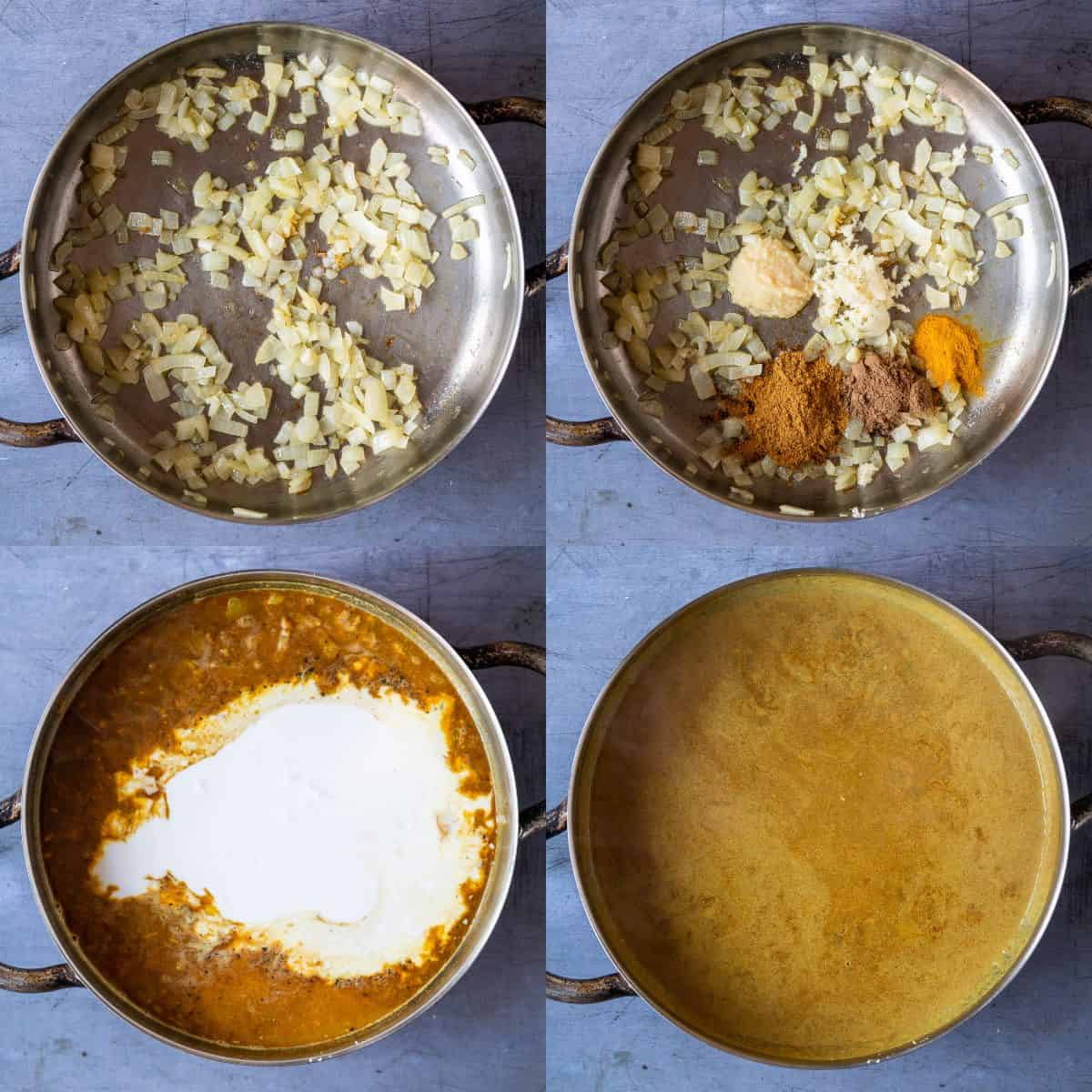 Step 1 - four image collage of cooking the curry sauce.
