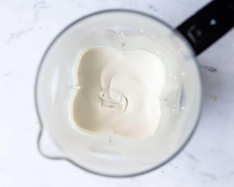 Step 3 - the blended cashew cream in the blender.