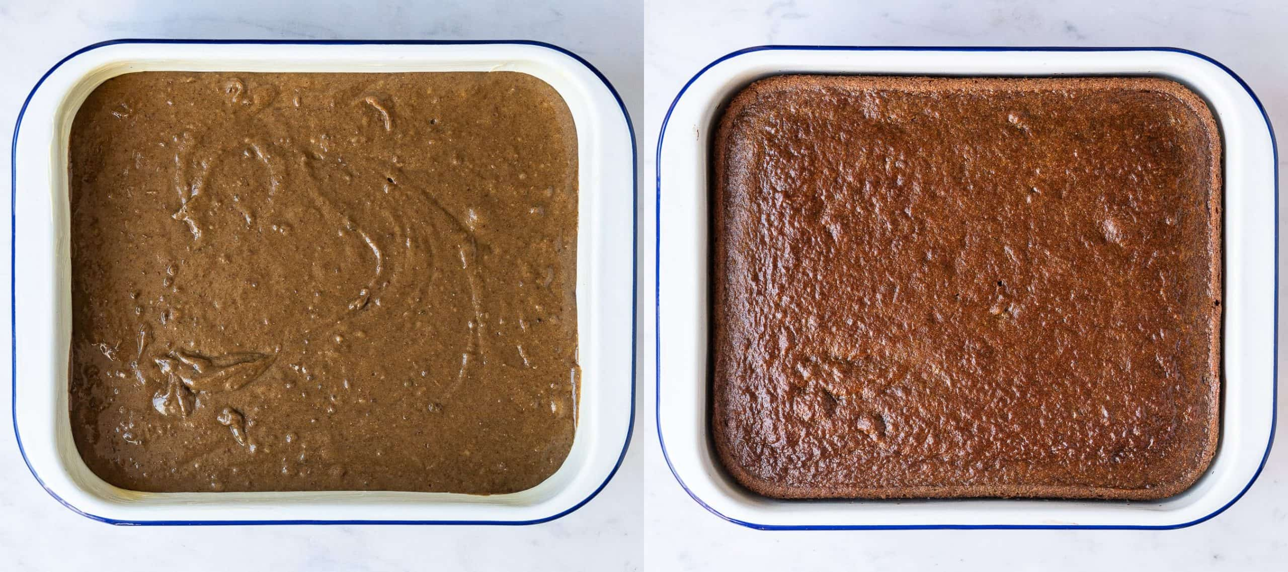 Step 3 - a two image collage of transferring the batter to the dish and baking the pudding.