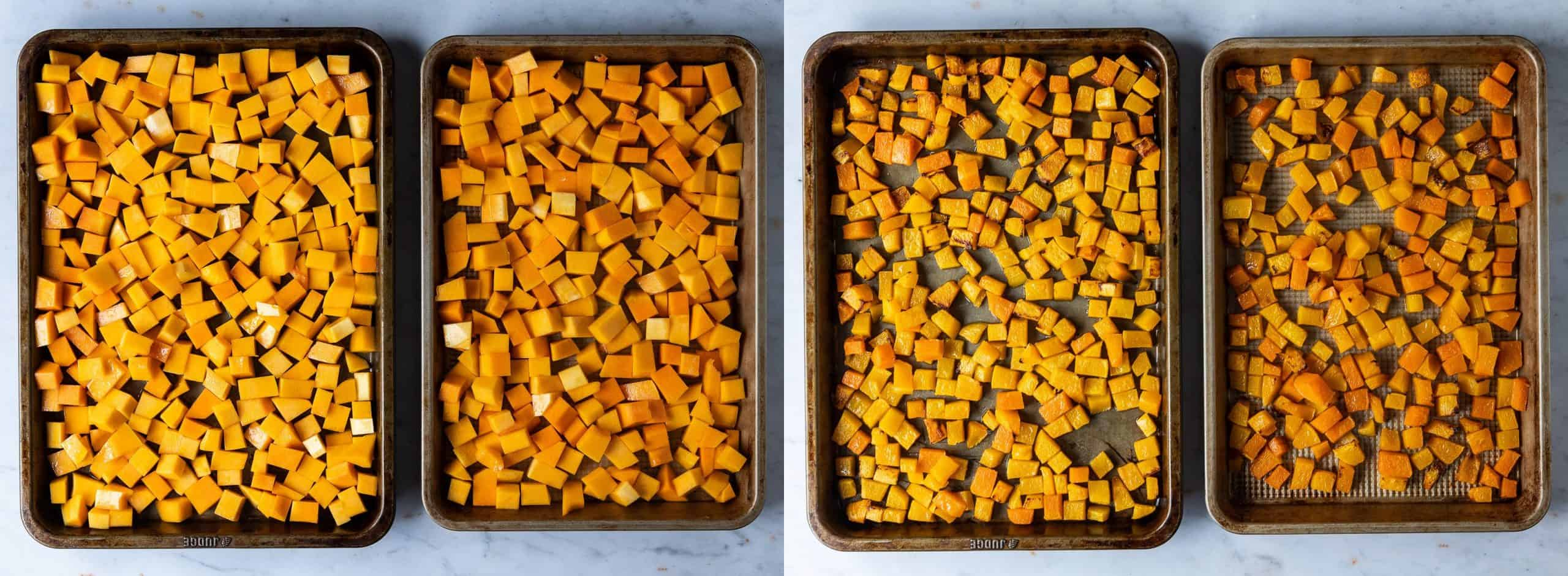 Step 2 - a two image collage of roasting the cubed butternut squash.