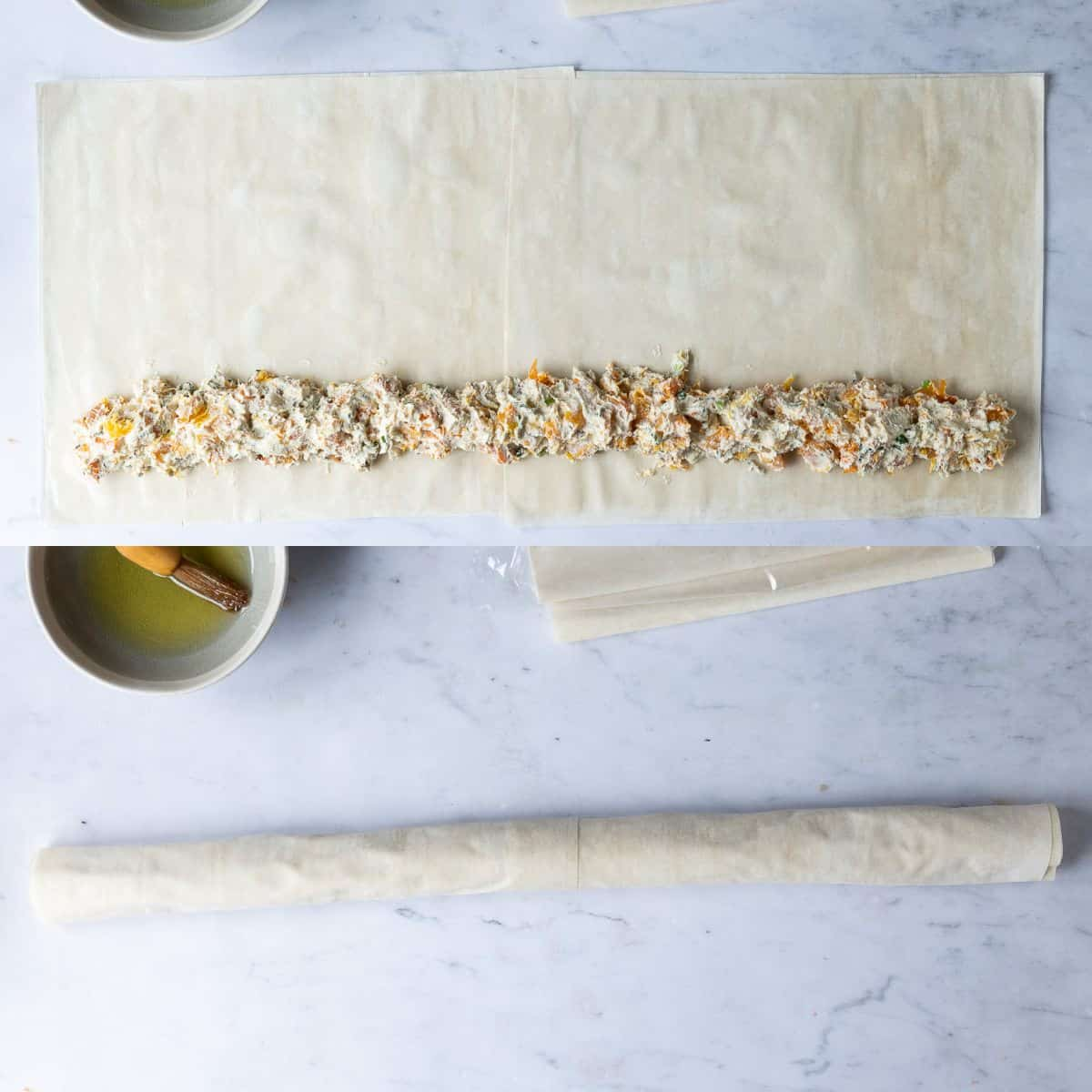 Step 5 - a two image collage of adding the filling and rolling up the pastry.